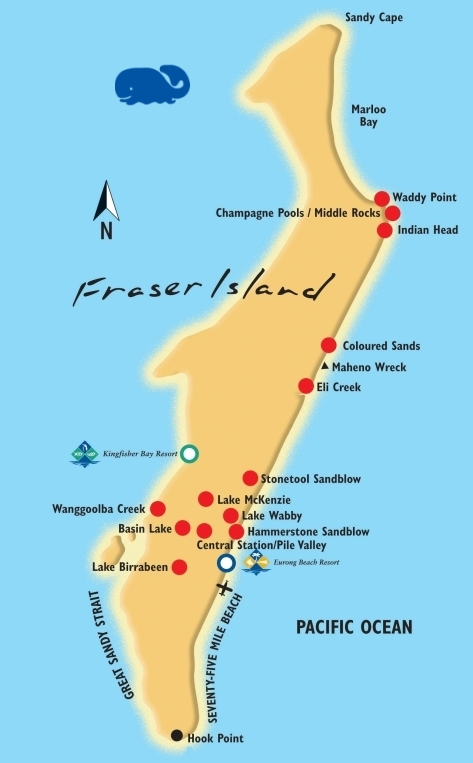 Map Of Fraser Island Fraser Island Interactive Map   Fraser Island Ferry